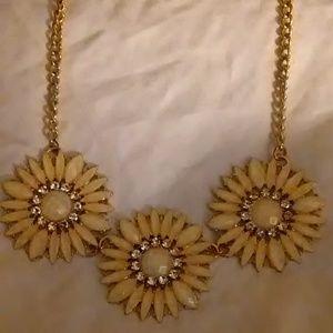 Necklace Peach Flower Petal Burst Faux Diamonds